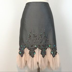Mac & Jac Gray/Pink Embellished Silk Skirt